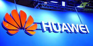 Huawei logo arancio su sfondo blu