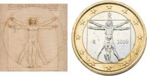 uomo vitruviano Euro Leonardo Da Vinci