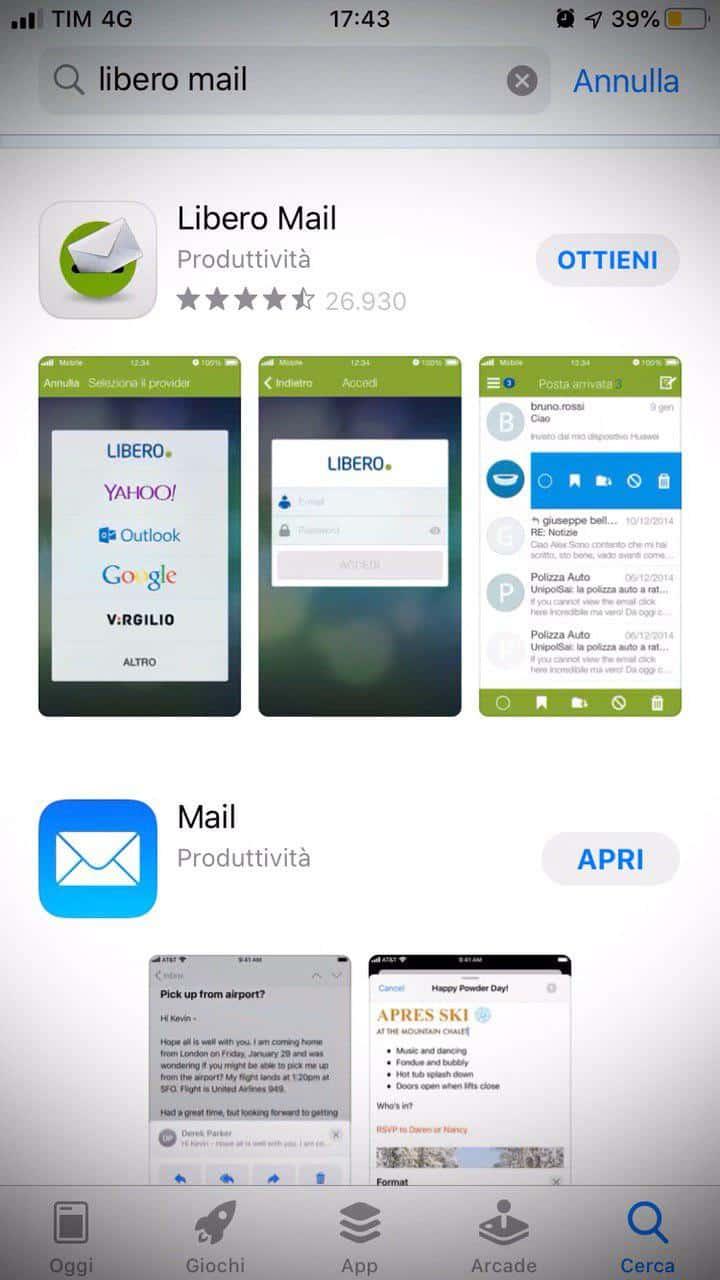 libero mail scarica app